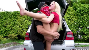 Big dicked guy fucked his petite girlfriend Kenzie Reeves and fills her mouth full of cum!
