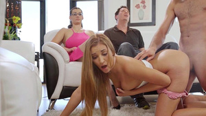Fuck with stepsister Moka Mora and stepbrother Damon Dice while her mom hypnotized!