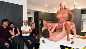 Sex free video with busty MILF Nicolette Shea and her assistants, Amara Romani and Markus!