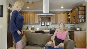 Brother fuck stepsister when mom comes in room!