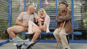Tiny granddaughter Riley Star fucked on bus bench!