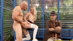 Petite slutty girl Riley Star fucked on bus stop nearly her grandfather!