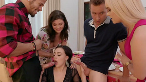 Thanksgiving Dinner with blowjob from lesbian sluts Whitney Wright, River Fox and Jessica Rex,