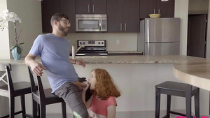 Redhead stepsister sucking brother cock in the kitchen and fucks in badroom!