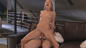 Naked sexy girl Nancy Ace with bald tiny pussy rides cock!