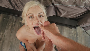 Adorable babe Allie Nicole takes a cum all over her pretty face.