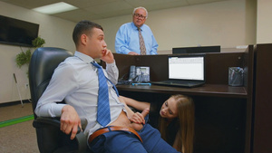 Smoking hot Kyler Quinn's office blowjob under table!