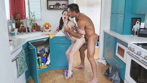 Pigtailed tiny babe Jenna Ross fucked in the kitchen!