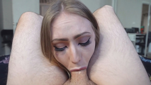 Blue eyed blondie girl Baby Sid deepthroat blowjob pov!