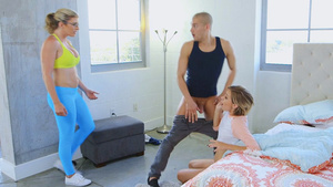 Stepmom Cory Chase caugth step-daughter, Haley Reed sucking cock!