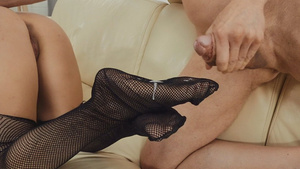 Young slut Tru Kait fishnets lingerie cum on feet porn tube.