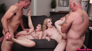 Stepfathers fuck stepdaughters Emma Starletto and Harlow West cum inside them